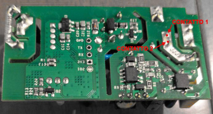 Sonoff Basic RF R2 POWER V1.0 - Back - Desoldered contacts for clean contact
