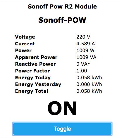 Sonoff-Tasmota POW R2 Web Interface
