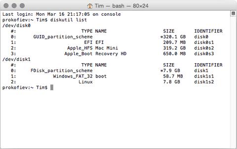 diskutil list - Terminal MAC