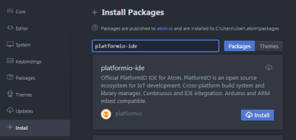 ATOM install packages