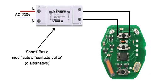 telecomando modificato con contatto pulito domotico
