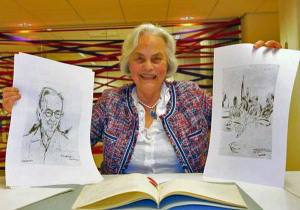 Joty ter Kulve met de tekeningen van Henk Ngantung