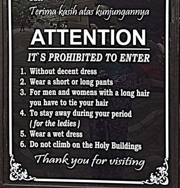 Regole templi di Bali