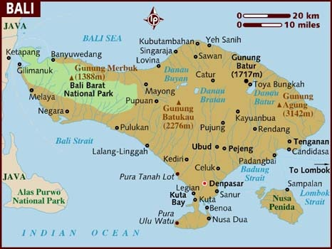 Bali map, Indonesia Travel guide