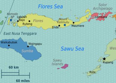 Mount Kelimutu, Flores map