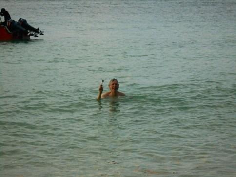 Adi Shaving in the Ocean
