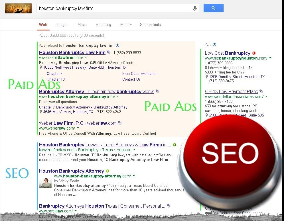 red seo button, law firm search engine optimization, get to the front page of Google, PPC, internet marketing, lawyer seo