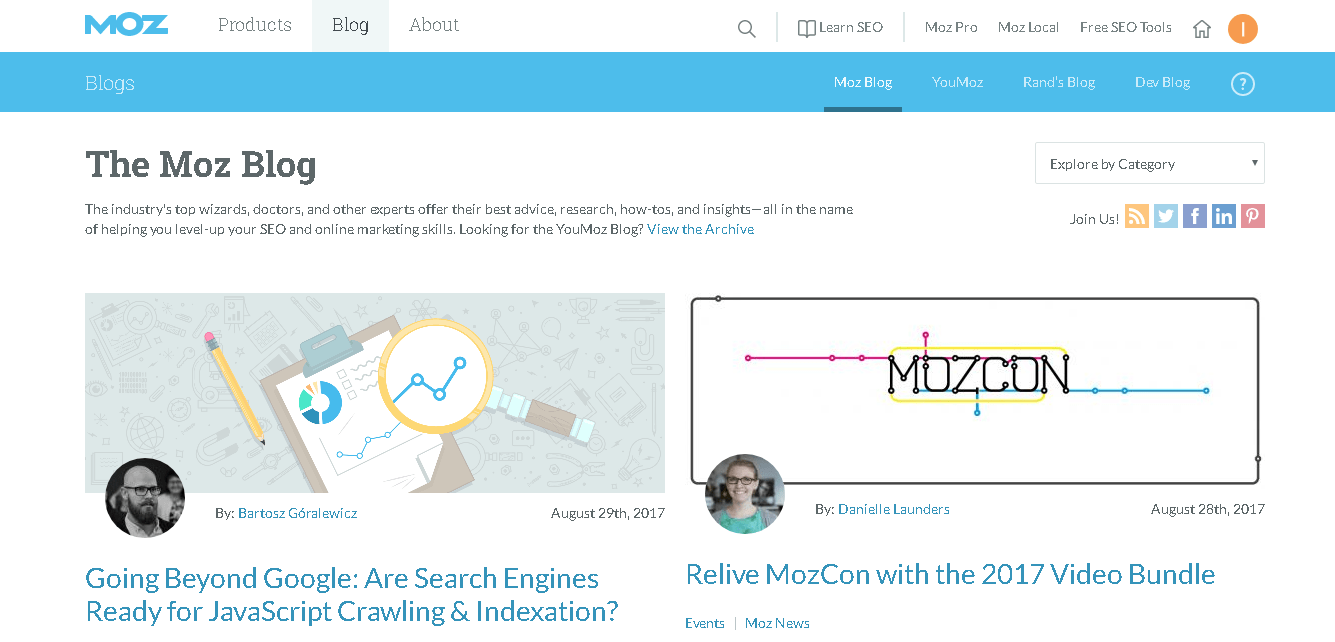 referensi website untuk belajar digital marketing MOZ Blog