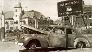 Burnt out car of a Brigadier A W S Mallaby