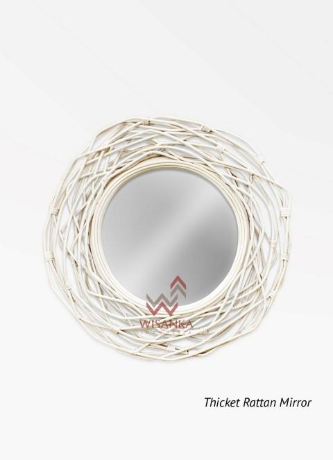 Thicket Rattan Mirror In White