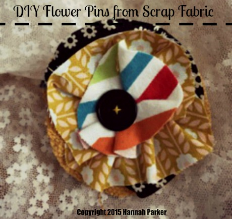 Scrap Fabric Flower Pins DIY Craft Tutorial