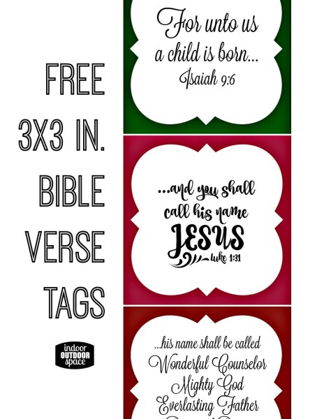Free 3 x 3 inch Christmas Bible Verse Tags by Shalana