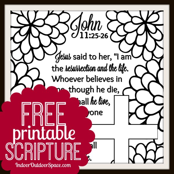 Free Printable Scripture Easter Coloring Page from John 11 the Resurrection and Life