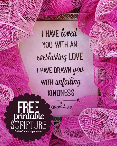 Hot Pink Mesh Valentine Wreath Craft Tutorial with Free Scripture Printable at Indoor Outdoor Space