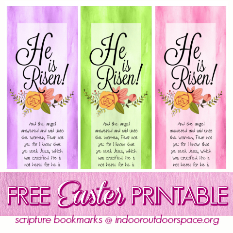 Free Printable Scripture He is Risen Easter Bookmarks