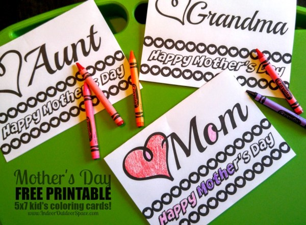 Happy Mothers Day Coloring Card for Kids Free Printable Mom Grandma Aunt at Indoor Outdoor Space