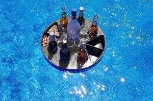 floating, bar tray, detachable legs, portable, bar, BBQs, picnics, ocean beaches, lakes, pools, camping, road tripping.