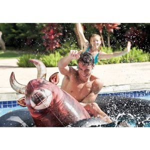 swimming, camping, kids, adults, swim floatie, bull riding summer, pool toy