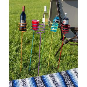 camping, glamping, steel drink holder stakes, beer, wine, water