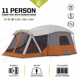 11 person tent, outdoor screen room, screen room, 11 person cabin, tent camping, family vacation, family camping, camping, tent cabin