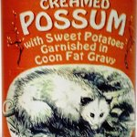 Canned Creamed Possum with Coon Fat Gravy and Garnished with Sweet Potatoes