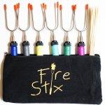 Fire Stix – Set of 6 Premium Extendable Marshmallow Roasting Sticks for Hot Dog BBQ Forks Campfire Pit