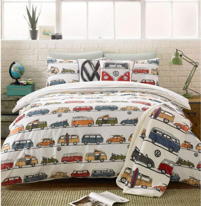 VW Camper Car Bug Van Duvet Cover and Pillowcases Queen