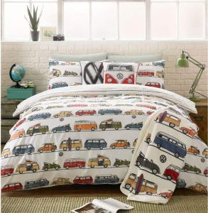 vw, vw bug, car, van, camper, camper van, camping, staycation, glamping, bedding, duvet cover, retro