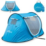 Pop-up Tent An Automatic Instant Portable Cabana Beach Tent – Suitable For upto 2 People – Doors on Both Sides – Water-resistant & UV Protection Sun Shelter – With Carrying Bag