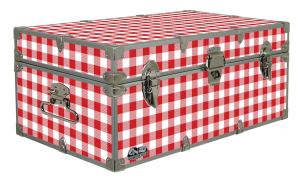 red gingham, blue gingham, food locker, Storage Trunk, Footlocker Camping, Glamping, Cottage, Cabin