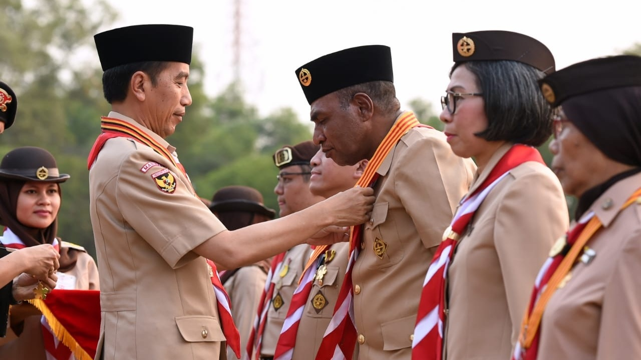 Presiden Jokowi Pimpin Upacara Peringatan Hari Pramuka ke-58