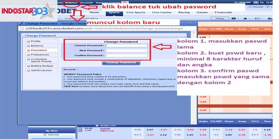 cara untuk ganti password sbobet