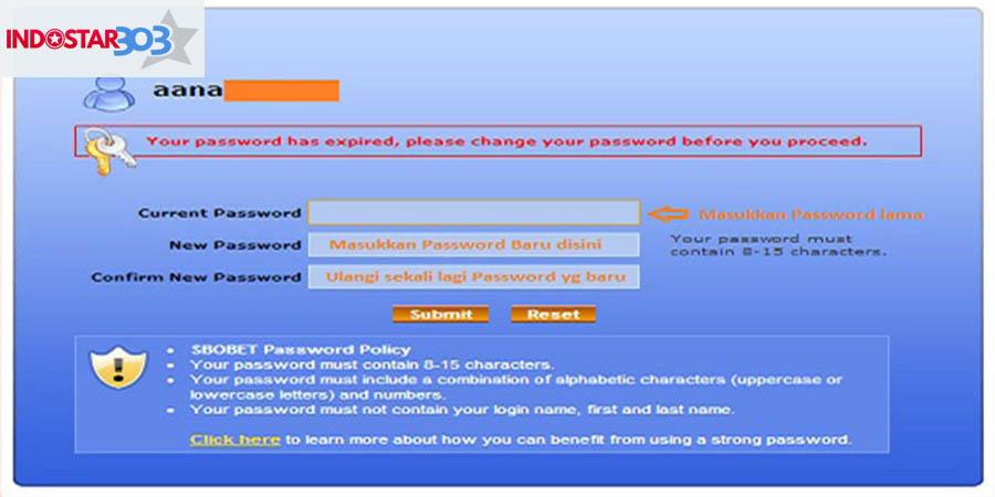 cara untuk mengubah password dan membuat username login sbobet
