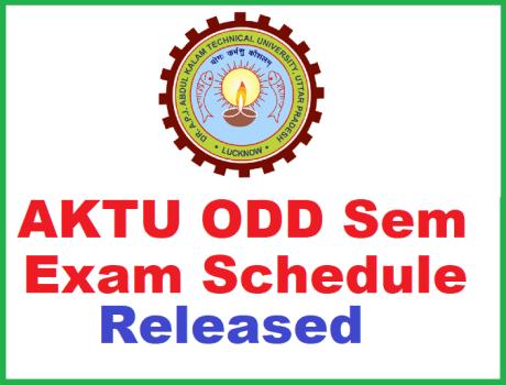 AKTU Odd Sem Exam Schedule 2018-19
