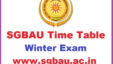SGBAU BA B.Sc B.Com Part 1 2 3 Winter Time table 2018-2019