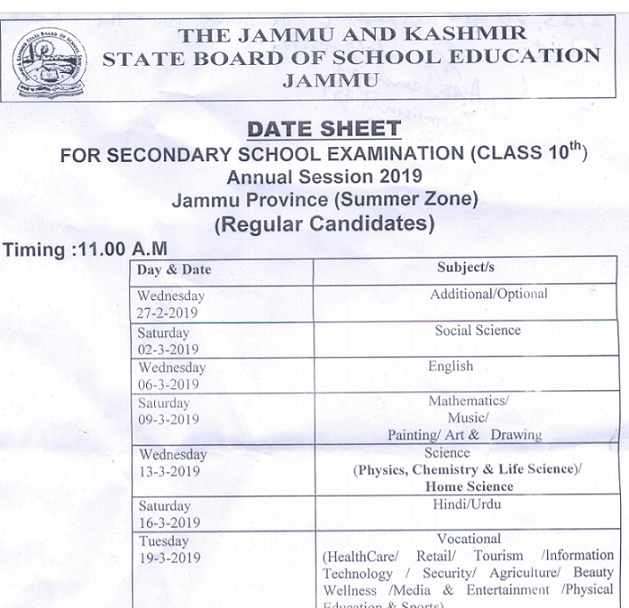 JKBOSE Class 10 Date sheet 2019 (Summer Zone) for Jammu division released at jkbose.jk.gov.in