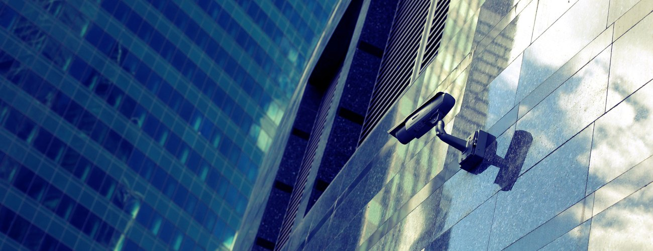 CCTV camera on the side of a building