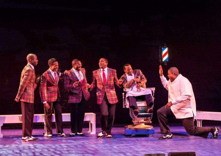 Pictured (seated) Obba Babatundé, (L-R standing) Jacques C. Smith, Trevon Davis, Octavius Womack, Rogelio Douglas, Jr. and Eric B. Anthony. Photo: Craig Schwartz.