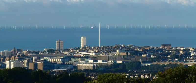 Rampion wind farm begins about 13km offshore from Brighton.