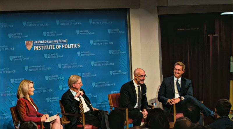 At Harvard Kennedy School, CNN political commentator Alice Stewart (from left) spoke with conservatives Washington Post columnist George Will, Kennedy School Professor Arthur Brooks, and former Arizona Sen. Jeff Flake.