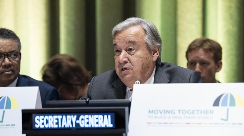 """UN Secretary-General António Guterres opens the high-level meeting on Universal Health Coverage. The theme of the meeting was """"Universal Health Coverage: Moving Together to Build a Healthier World"""". Copyright: UN Photo/Kim Haughton."""