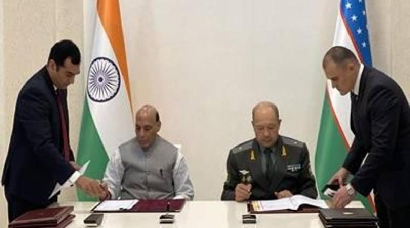 India's Defence Minister Rajnath Singh with his Uzbekistan counterpart Major General Bakhodir Nizamovich Kurbanov [IANS]