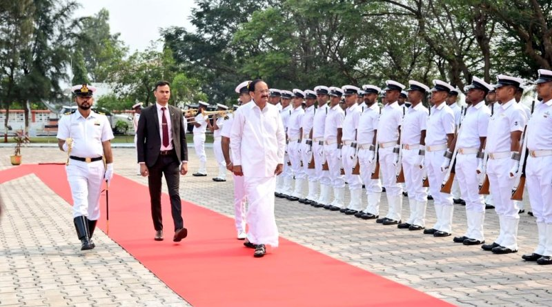 VP Naidu visits Eastern Naval Command, takes tour of INS Sahyadri