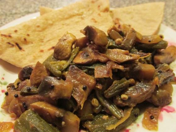 Okra and mushroom masala