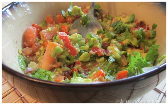 Red Pepper Guacomole (Avocado and red pepper dip)