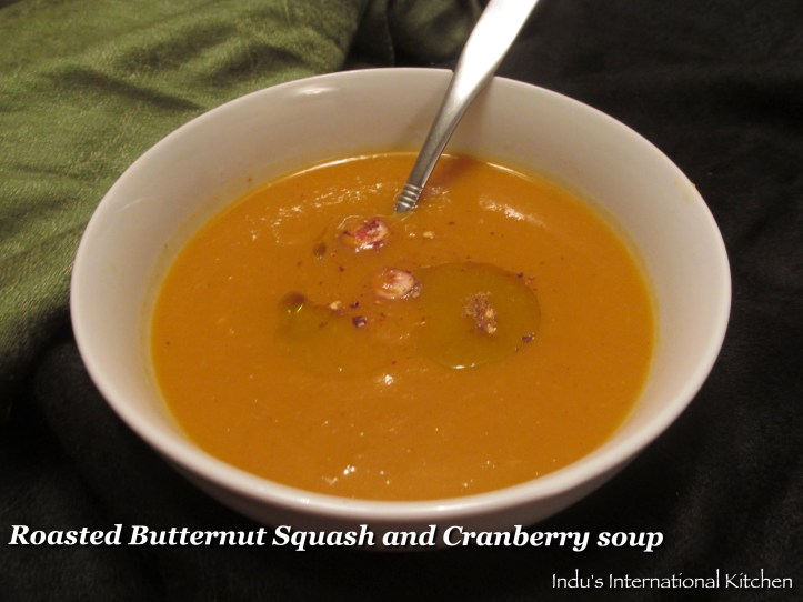 Butternut Squash soup with cranberries