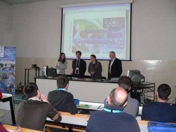 Da sinistra: Fava, Buoni, Palazzetti, Gaviati nell'aula magna dell'Università del Piemonte Orientale a Casale Monferrato