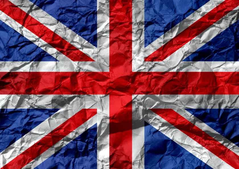 uk flag on creased paper
