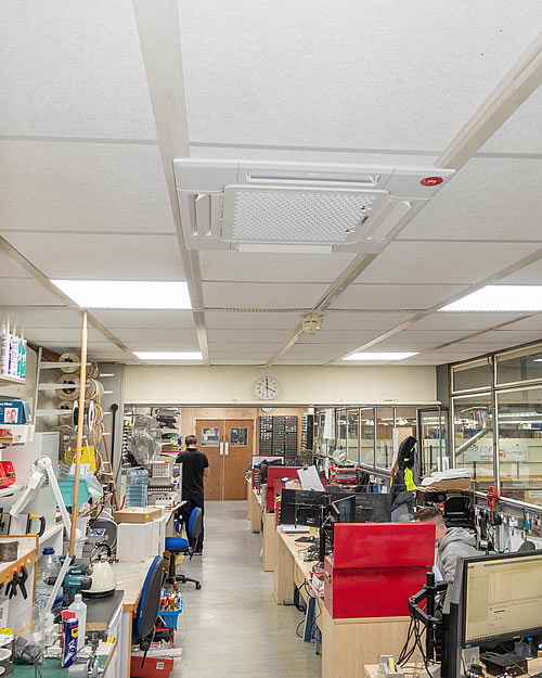 Engineering Workshop, installation of air conditioning unit (Cynergy rev 2 heating)
