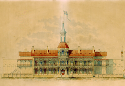 A front view of the Hong Kong Mint from a coloured engraving